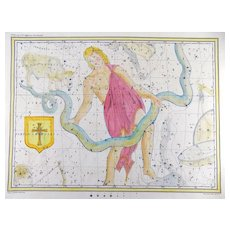 F. V. Hoffmann - Scarce Folio Celestial Chart showing constellation of Ophiuchus - 1835
