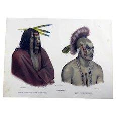 Karl Bodmer (1809-93) - Wah Menitu & Muskole Dakota American Indian - Hand coloured stone lithograph - 1834