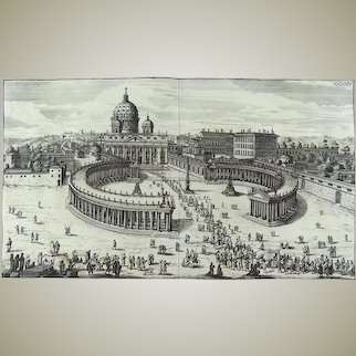 Joh. Franck after Falda - View of the Vatican Rotunda, St. Peters, Rome, Italy - 1675