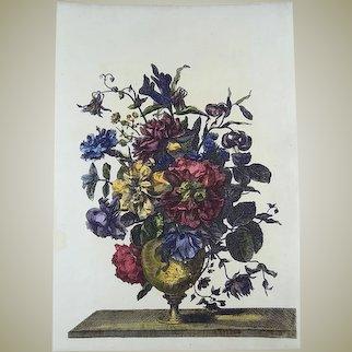 Jean Baptiste Monnoyer (1636-1699); Large garland of flowers, copper engraving - 1680