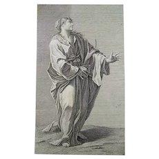 Georg Martin Preissler (1700–1754) - Baroque folio copper engraving - Woman in Drapes - ca 1720