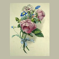 Holland del. Meyer lith. - Large folio hand coloured stone lithograph - Floral Bouquet - 1830