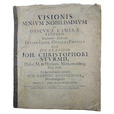 Johann Gabriel Doppelmayr (1677-1750) - CAMERA OBCURA Visionis sensum nobilissimum - 1699