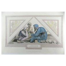 A.Cabanel (1823-1889); Achille Jacquet (1846-1908) - January - Art Nouveau engraving