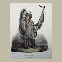 "Karl Bodmer (1809-93) - ""Mandan Chef"" - Hand coloured folio lithograph - 1840"