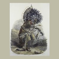 """Karl Bodmer (1809-93) - """"Hundetanzes"""" - Hand coloured folio 1840"""