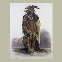 "Karl Bodmer (1809-93) - ""Dacota Krieger"" - Hand coloured folio 1840"
