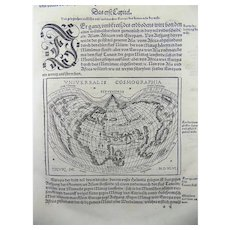 "1548 Honter, Jon Coronensis ""Universalis Cosmographia"" Heart-Shaped World Map"