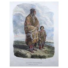 "Karl Bodmer (1809-93) - ""Dacota Indianerin"" - Hand coloured folio 1840"