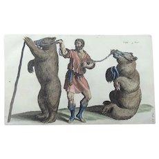 Matthäus Merian (1593-1650) - Swiss Dancing Bears - Folio hand coloured engraving