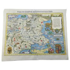 "Johannes Stumpf - ""Gallia oder Frankreich"" - doublepage folio woodcut map 1548"