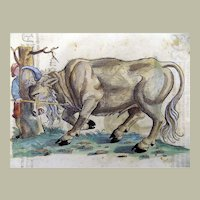 Gesner, Conrad 1516-1565 - Folio with 2 hand coloured woodcuts - Bison, Raging Bull - 1557