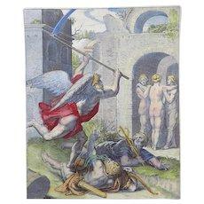 """Otto van Veen (1556-1629) Quarto handcoloured """"Death invincible"""" - Memento Mori - Dance of Death - 1612"""
