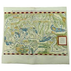 Johannes Stumpf SWITZERLAND under Romans double page folio woodcut map 1548