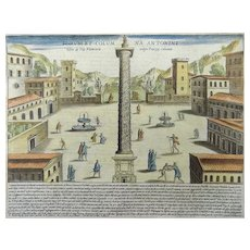 Jacobus Laurus (active 1583-1645) - Column of Antoninus ROME Italy - 1624