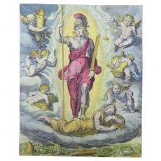 "Otto van Veen (1556-1629) Quarto ""Glory ther Reward of Valor"" hand colored 1612"