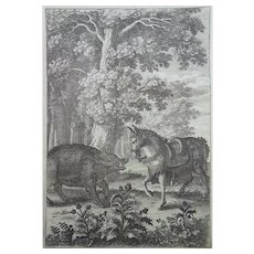 Wenceslaus Hollar (1607-1677) - Aesop: The Horse and the Boer - 1668