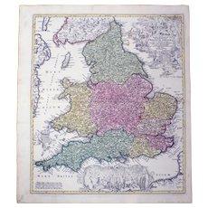 "Joh. Bapt. Homann (1664-1724) - Large map of England ""Magnae Britanniae"" - 1737"