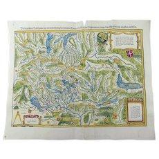 Johannes Stumpf - Switzerland - doublepage folio woodcut map 1548
