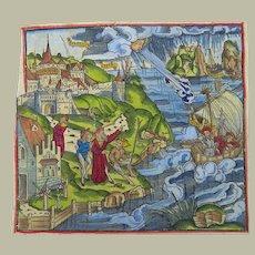 Gruninger Master - Aeneid: Aeneas, Crete, Galleon, Storm - 1502