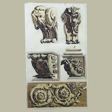 Jean Le Pautre (1618-1682) - Hand coloured Ornamental Designs - Architecture Folio