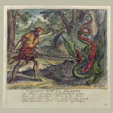 Jaspar Isaac (1585-1654) etching - Ovid Mythology - Cadmus fights Dragon - 1660