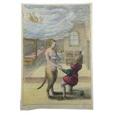 Wenceslaus Hollar (1607-1677); YOUNG MAN & CAT (!) - Master Engraving - 1666
