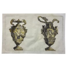 Jean Le Pautre (1618-1682) - Hand coloured - Ornamental Vases - 1751