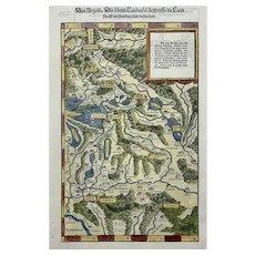 Johannes Stumpf [1500-1577] Map - CENTRAL SWITZERLAND - folio woodcut - 1548