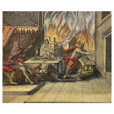 Jaspar Isaac (1585-1654) etching Ovid Mythology Lycaon Prince & Tyran l'Arcadie - 1660