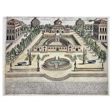 Lauro, Giacomo ( Jacobus Laurus) - Gardens of Galba Rome Italy - Hand colour FOLIO engraving - 1624