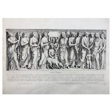 Pietro Santi Bartoli - NUPTIAE Roman Wedding 46 x 33.5 cm Large copper engraving - 1693