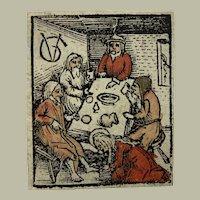 "1516 handcol. Woodcut - Christ Washing Feet - Monogrammed ""VG"""