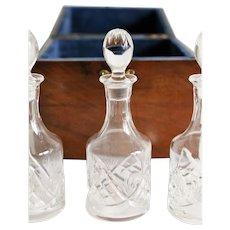 Antique Georgian Cased Liquor Decanter Cordial Set Tantalus