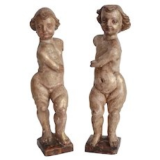 Antique Northern Italian Carved Wood Putti Angels Sculptures - Set of 2