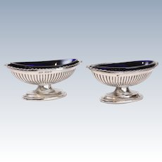 19th-Century English Sterling Silver Open Salts, Pair