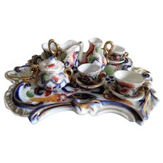Miniature English Doll Tea Set with Tray, Hand Painted
