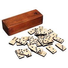 Antique English Bone & Ebony Dominoes Game Set, Small