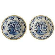 18th-Century Antique Early Dutch Delft Plates, Pair