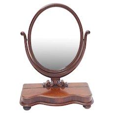 Antique English Mahogany Vanity Dresser Shaving Mirror