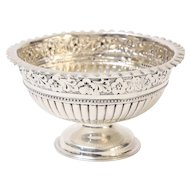 Antique English Sterling Silver Repousse Bowl, 1882 Hallmarked