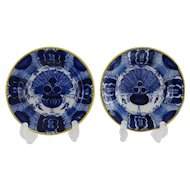 PAIR DUTCH DELFT PLATES 'PEACOCK' DESIGN