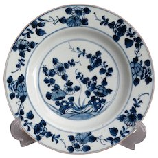 Antique 19th-Century Delft Faience Plate, Blue and White