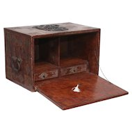 Tooled Leather Spanish Bargueno Traveling Campaign Chest Desk, Free Shipping