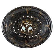 Antique Papier Mache Tray w/ Mother of Pearl