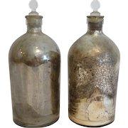 Antique Mercury Glass Apothecary Bottles, Pair