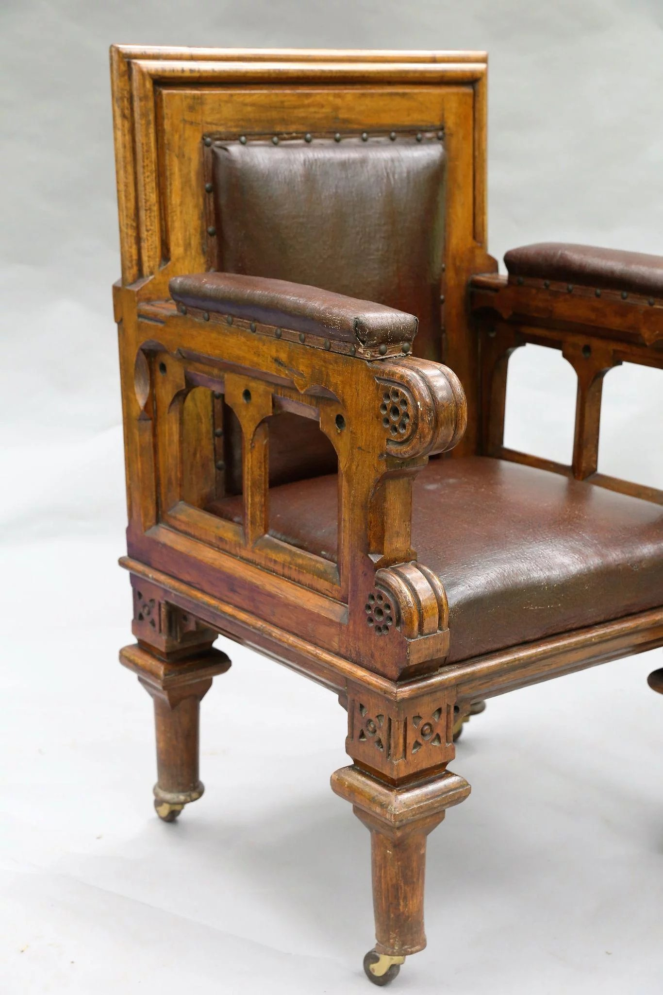 Click to expand - Antique Oak & Leather Library Chairs, Pair, English, Circa 1850