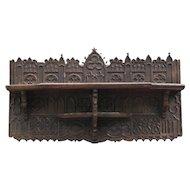 Antique 18th-Century English Gothic Carved Oak Wall Shelf