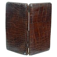 Fine English Leather Crocodile Skin Card Case Wallet