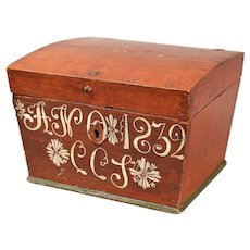 Antique Swedish Marriage Chest Trunk Box, Dated 1832